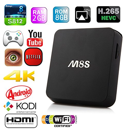 NinkBox M8S 4K Android 2G/8G Dual Band 2.4G/5G WiFi Full HD TV Box Preinstalled with Full Loaded Kodi and Cloudtv Streaming Media Player