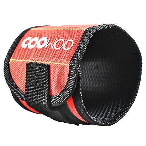 COOWOO Magnetic Wristband Red with Super Strong Magnets Perfect for Holding Screws, Nails and Other Small Tools