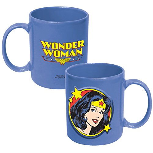 ICUP DC Wonder Woman Embossed Face Ceramic Mug, 20-Ounce, Clear