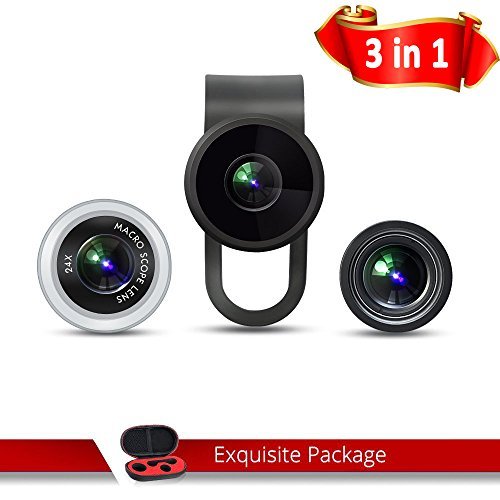 Fisheye Lens, Pictek 3 - 1 Clip-on Cell Phone Fish Eye Camera Lens Kit, Fisheye Lens, 12 X Marco Lens and 24 X Super Marco Lens with Microfiber Cleaning Cloth and Carrying Case for Iphone, Samsung Galaxy, and Android Smartphones