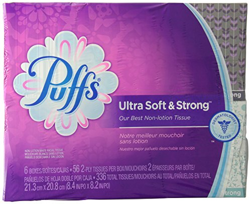 Puffs Ultra Soft & Strong Facial Tissues; 56 Tissues per box, 6 boxes- Packaging May Vary
