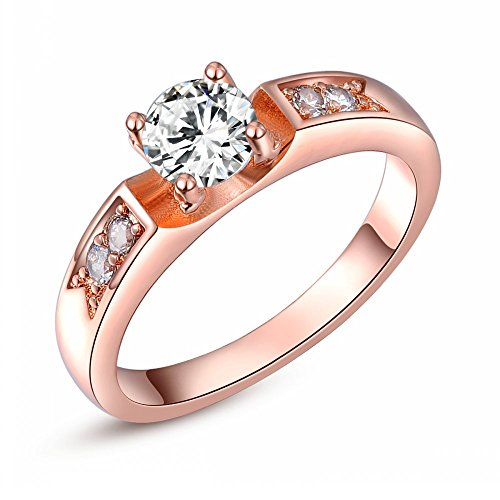 Angelady 18K Platitum / Rose Gold Plated Round Diamond Solitaire Engagement Ring for Women Best Gifts Idea (Available in Sizes 6 7 8) (7, Rose Gold)