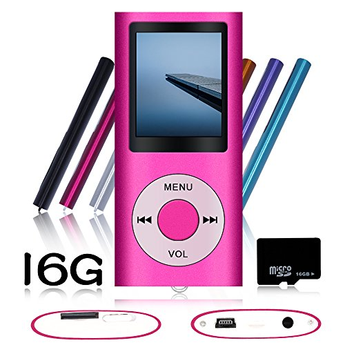 Tomameri Pink Portable MP4 Player MP3 Player Video Player with Photo Viewer , E-Book Reader , Voice Recorder + 16 GB Micro SD Card