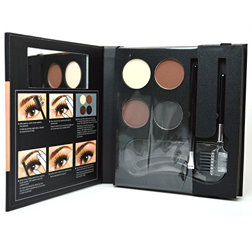 NYX Eyebrow Kit With Stencil Eyebrows Powders + 3 Stencil + 2 Brushes EBKS01 + FREE EARRING