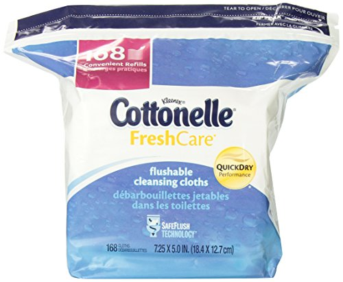 Cottonelle Fresh Care Flushable Cleansing Cloths Refill, 4 Packs of 168 Count (672 Total Cloths)