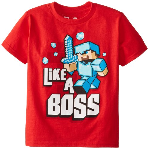 Jinx Minecraft  Boy's 8-20 Like A Boss Youth T-Shirt,Red,youthLarge