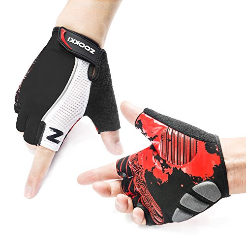 Zookki Cycling Gloves Mountain Bike Gloves Road Racing Bicycle Gloves Light Silicone Gel Pad Biking Gloves Half Finger Bicycling Gloves Riding Gloves Men/Women Work Gloves(Half Finger & Black & XL)