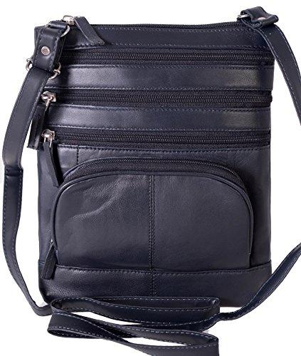Champs Genuine Leather Cross Body 5 Pocket Zipper Handbag Purse Navy
