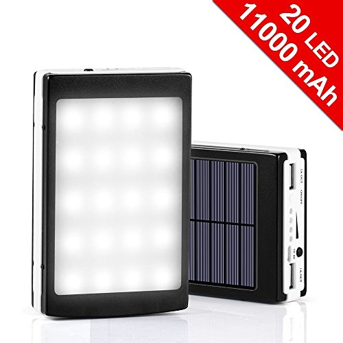 11000mAh Solar Charger& 20LED Camping Light 2-in-1; Dual USB External Solar Charger; Backup Battery for Headlamp iPhone iPad HTC Samsung Blackberry,GPS,Tablet,Camera(Apple Adapters not Include)(black)