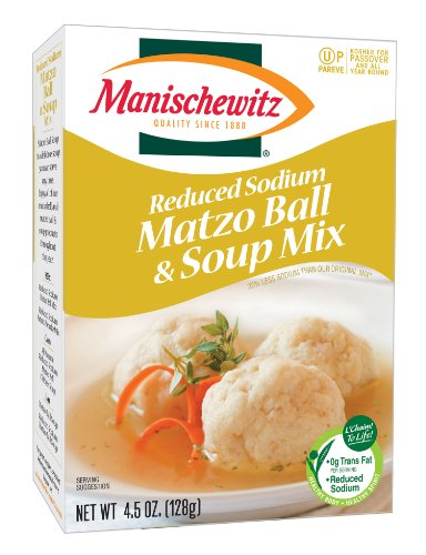 MANISCHEWITZ Reduced Sodium Matzo Ball & Soup Mix, 4.5-Ounce Boxes (Pack of 6)