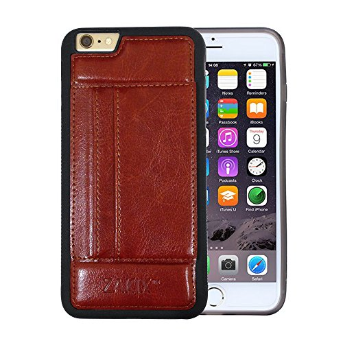 Zakix® Premium PU Leather iPhone 6s/6 Wallet Case w/ 2 Credit Card Slots & Kickstand - PET Screen Protector Incl.