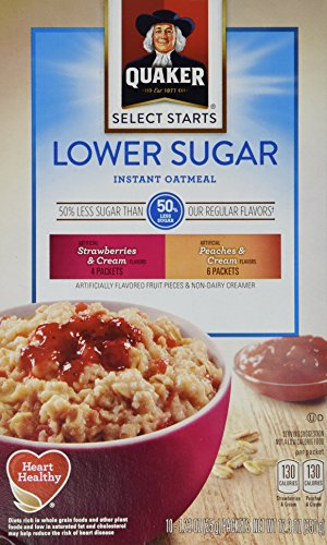 Quaker Instant Oatmeal Low Sugar Fruit & Creme, Variety Pack, 12.3-Oz, 10-Count Boxes (Pack of 4)