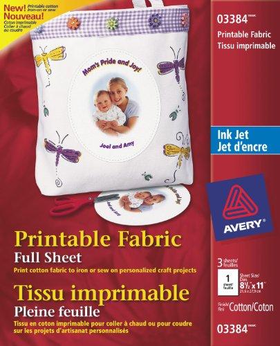Avery Printable Fabric for Inkjet Printers, White, 5 Pack (3384)