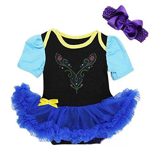Starkma Baby Anna Princess Black Royal Blue Bodysuit Tutu Costume Cosplay