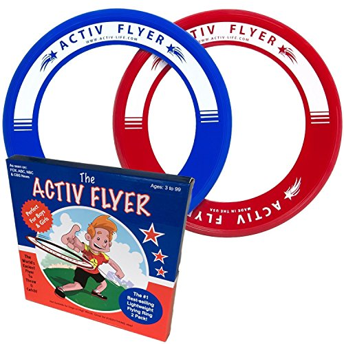 Best Kids Frisbee Ring 2 Pack: Perfect Birthday Gift & Christmas Present for Boys & Girls Cool Outdoor Family Fun Toy at Pool Beach School Playground Park Backyard BBQ - Ultralight Design Doesn't Hurt Fingers - Activ Flyers are Made in USA!