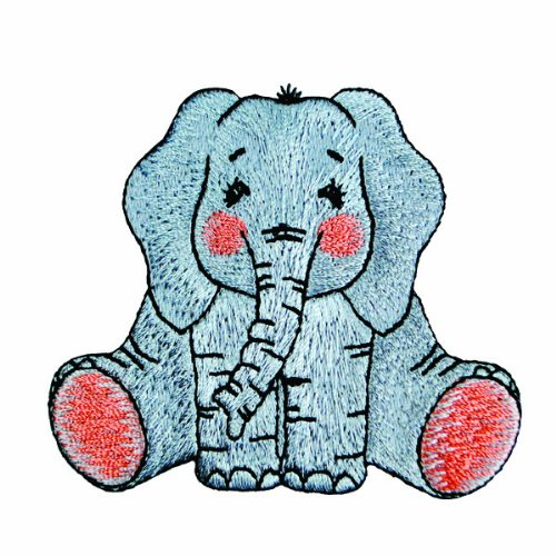 Expo BZP77500 Iron-on Embroidered Applique Patches, BaZooples Elsie Elephant