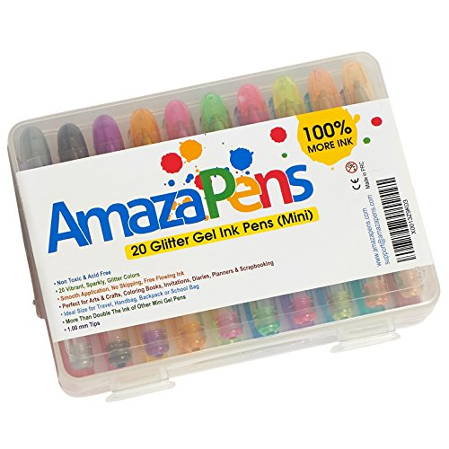 AmazaPens Glitter Mini Gel Pens, 20 Pack with Maximum Ink & Carry Case, Best for Purse or School Bag for Sparkle on the Go, Perfect Gift for Portable Coloring and Instant Inspiration