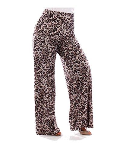 Fall Essentials Plus Size Printed Palazzo Pants (2X, Gray Cheetah)
