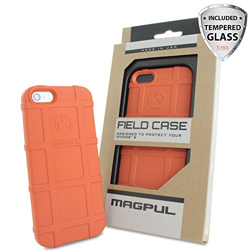 iPhone SE Case, iPhone 5S/5 Case, Magpul® [Field] Polymer Drop Protection Case Cover MAG482 Retail Packaging for Apple iPhone SE/5S/5 + TJS® Tempered Glass Screen Protector (Orange)
