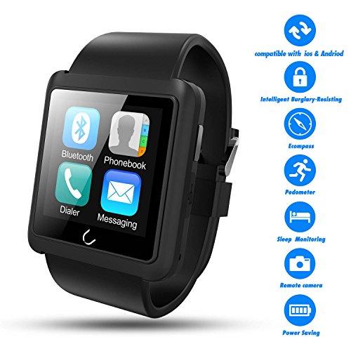 TWOBIU U10L Bluetooth Smart Watch with Pedometer and Remote Camera - Black