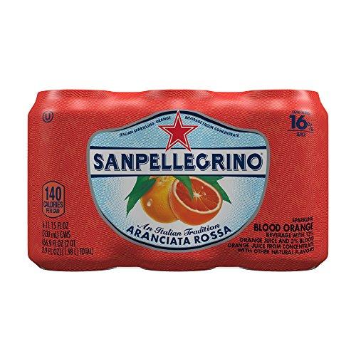 San Pellegrino Sparkling Fruit Beverages, Aranciata Rossa/Blood Orange, 11.15-ounce cans (Pack of 6)