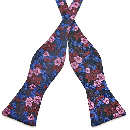 Pensee Mens Self Bow Tie Multi-color Floral Jacquard Woven Silk Bow Ties