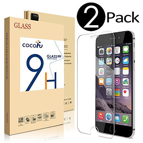 [2 Pack] iPhone 6 Plus Screen Protector, COCOFU iPhone 6 Plus Glass Screen Protector (5.5)- [Tempered Glass] 9H Hardness, Bubble Free, Also Works with iPhone 6s Plus [Lifetime Warranty]