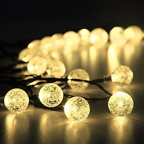 Innoo Tech Solar Outdoor String Lights, 19.7 ft 30 LED Fairy Light Warm White Crystal Ball Christmas Globe Lights for Garden Path, Party, Bedroom Yard Deck Decoration