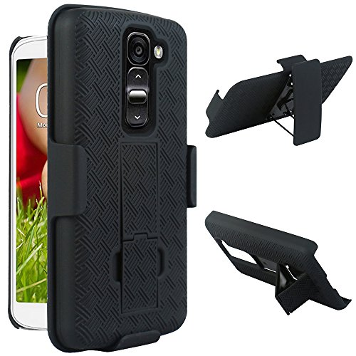 Maxboost LG G2 Mini Holster Case - Shell Holster Combo Protective Case for LG G2 Mini with Kick-Stand Belt Clip Holster [Black] - Fits Any Version for LG G2 Mini includes Models for AT&T, Verizon, Sprint, T-Mobile, International Unlocked (A.K.A LG G2 Mini Case / LG G2 Mini Holster / LG G2 Mini Belt Clip / LG G2 Mini Belt Case / LG G2 Mini Stand / LG G2 Mini Extended Battery Pack Car Charger / LG G II Case / LG GII Holster )[Early 2014 LG G2 Mini Model]
