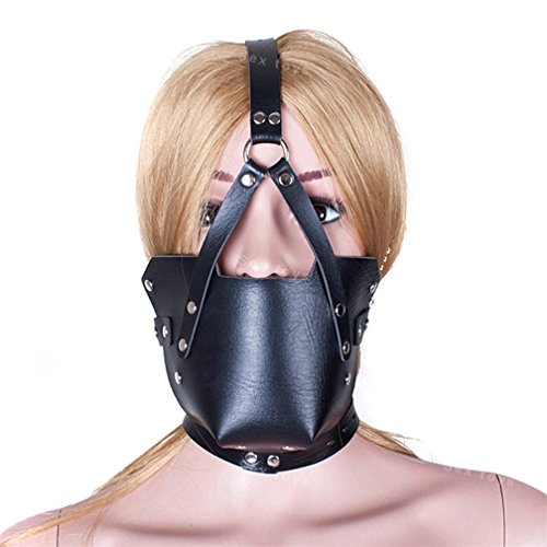 FST Leather Harness Muzzles Sex Mask Ball Gag Mouth Plug Leather Bondage Restraints Fetish Erotic Toys for Women Sex Toys for Couples,Black