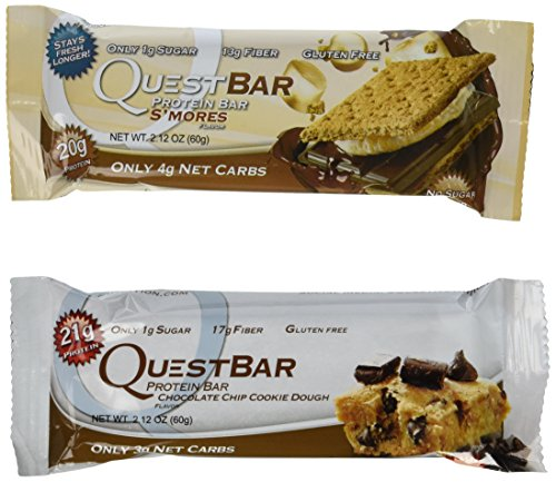 Quest Nutrition Protein Bar S'mores, Chocolate Chip Cookie Dough, 12 Bars Each