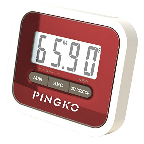 PINGKO Digital Kitchen Timer, Countup & Countdown Timer with Clock Maximum to 99 Minutes 59 Seconds - Red