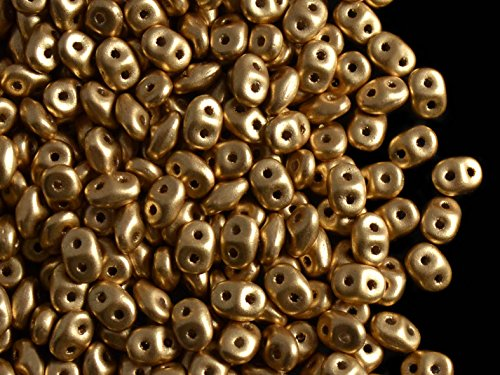 10gr Czech Two Hole Seed Beads SuperDuo 2,5x5 mm CRYSTAL PALE GOLD