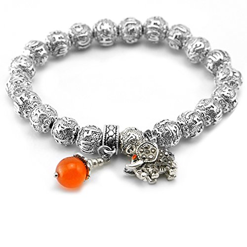 Cat Eye Jewels Tibetan Silver Beads Om Mani Padme Hum Mantra Bracelet November Birthstone & Elephant Charms(H28)
