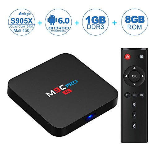 NinkBox M9C PRO Android 6.0 TV Box Amlogic S905X Quad Core 4K Output 1G/8G Flash Smart Tv Player Wifi Preinstalled with Full Loaded Kodi 16.1 Streaming Media Player