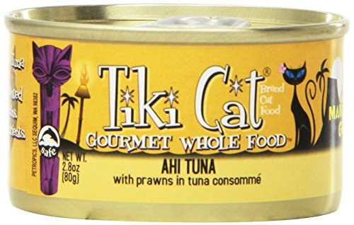 TIKI Cat Manana Luau Ahi Tuna with Tiger Prawns in Tuna Consomme (Pack of 12 2.8 Ounce Cans)