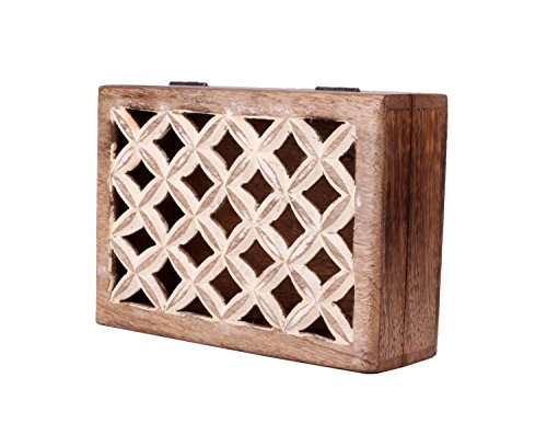 Diwali Gift Royal Hand Carved Wooden Jewelry Keepsake Box Organizer with Checkered Cut-outs