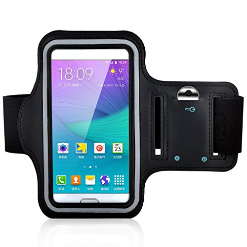iPhone 6 armband, Atolla Sport Running Armband Case for Samsung Galaxy S6 Edge S6 S5 S4 S3 Workout Arm band for iPhone 6S 6 5S 5 (Black)