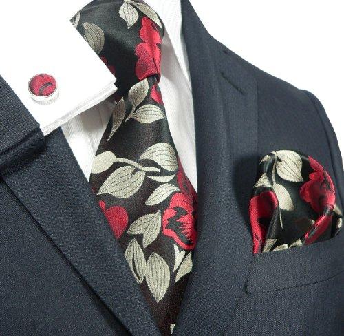 Landisun Floral Pattern Mens Silk Tie Set: Tie+Hanky+Cufflinks 91H Red, 3.75Wx59L