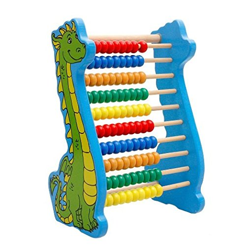 Lewo Wooden Counting Frame Bead Abacus Dinosaur Maths Toys for Toddlers