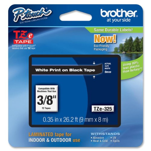 Brother Tape, White on Black, 9mm (TZe325) - Retail Packaging