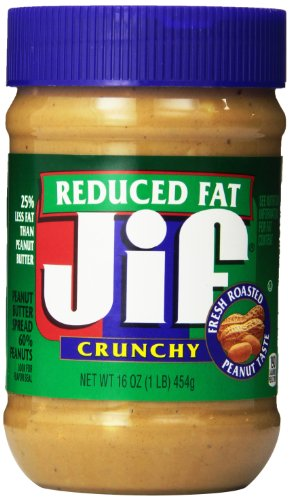 Jif Crunchy Reduced Fat Peanut Butter Spread, 16 Ounce (Pack of 12)