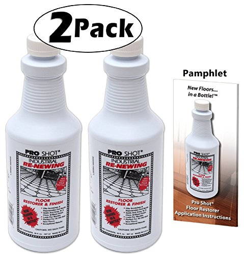 2 PACK Pro Shot Industrial Re-Newing Floor Restorer And Finish (64 oz. - 32 oz. each) Petrochemical-Free Formula