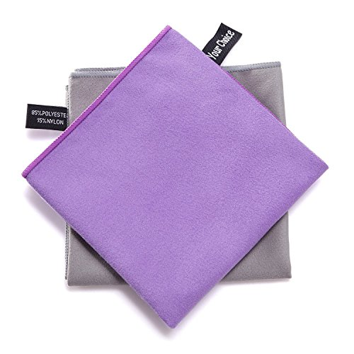 Your Choice 2 Pack Microfiber Cooling Travel Sports Camping Hiking Swim Workout Towels Ultra Compact Lightweight Fast Drying Towels Purple and Grey