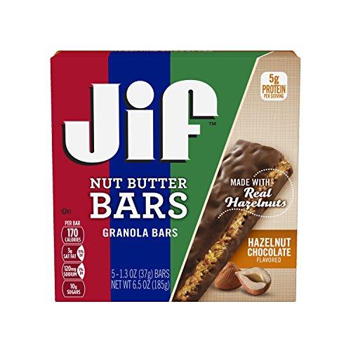 Jif Hazelnut Chocolate Nut Butter Granola Bars, 5 Count Pack