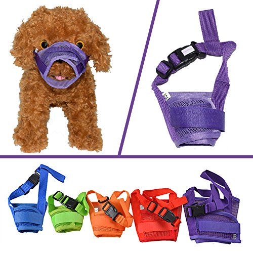 YAMAY Dog Muzzle Muzzles for Barking Biting Chewing Licking Nylon Mesh Comfortable Adjustable Velcro for Small Medium Large Dogs Puppy Anti Bite Chew Bark Lick Allow Drinking Walking