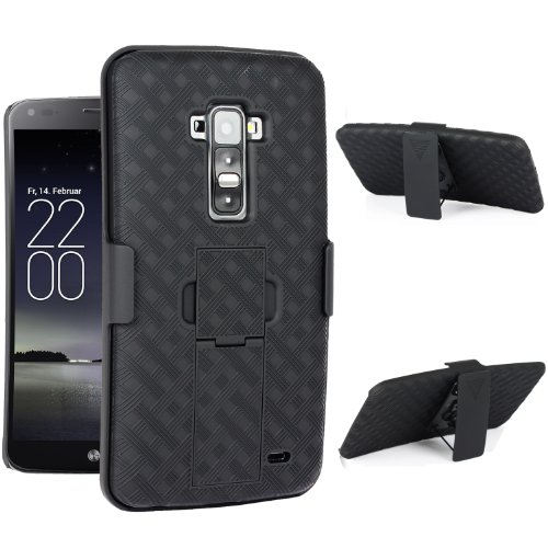 Maxboost Shell Holster Combo - Protective Case for LG G Flex with Kick-Stand Belt Clip Holster [Black] - Fits Any Version for LG G Flex includes Models for AT&T, Verizon, Sprint, T-Mobile, International Unlocked (A.K.A LG G Flex Case / LG G Flex Holster Case / LG G Flex Belt Clip / LG G Flex Kickstand Case / LG Flex Case / LG Flex Holster)[Early 2014 LG G Flex Curved Model]