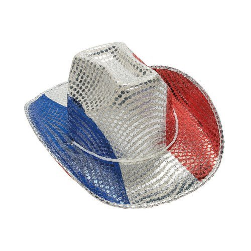 Fun Express FX IN-15/432-1 Patriotic Sequin Cowboy Hat