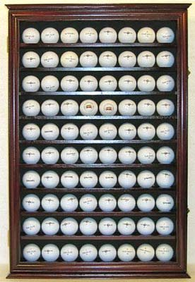 80 Novelty / Souvenir Golf Ball Display Case Holder Cabinet, with glass door, MAHOGANY Finish