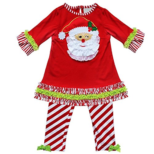 Baby Girl Christmas Davidsdeer Suit T-shirt+Culottes Long Pants Outfits Skirt (110#3-4Years, White)